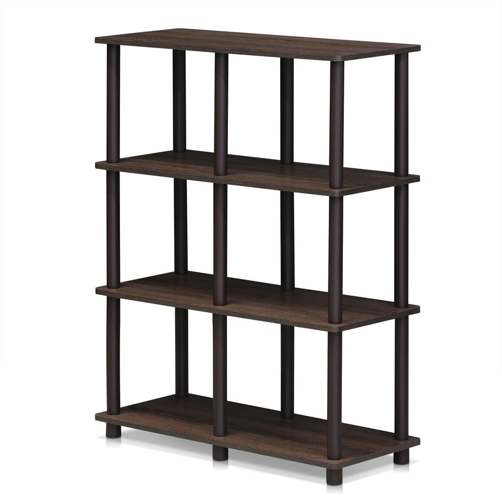 Furinno 16104WN/BR Turn-N-Tube 6 Space Shelf, Walnut/Brown. The main picture.