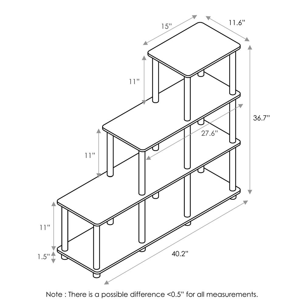Furinno 16107WN/BR Turn-N-Tube Ladder Space Shelf, Walnut/Brown. Picture 2