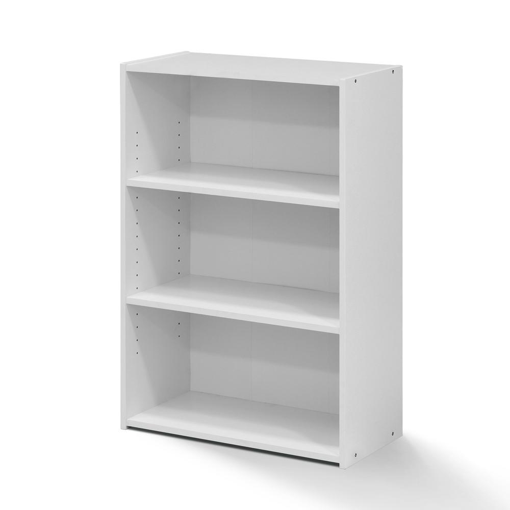 Furinno Wright 3-Shelf Bookcase, Soft White. Picture 1