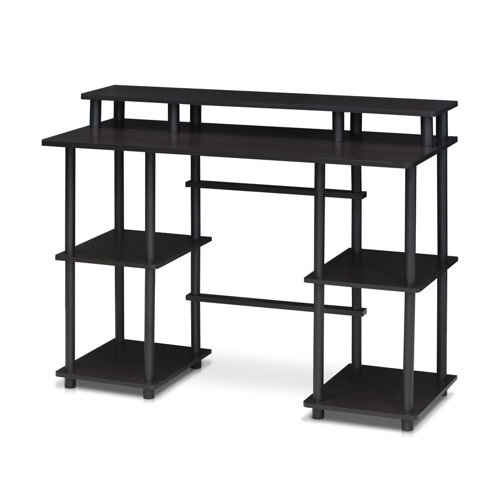 Furinno Turn-N-Tube Computer Desk with Top Shelf, Espresso/Black 17045EX/BK. Picture 1