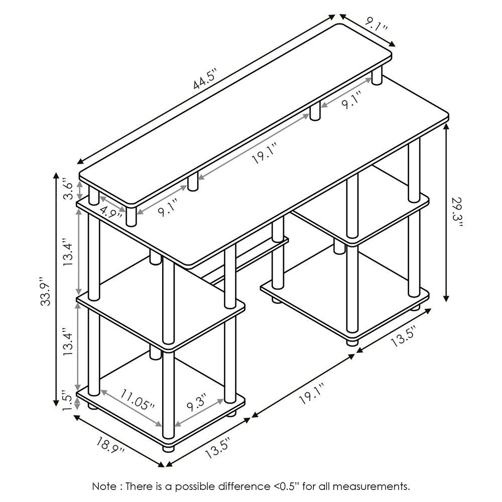 Furinno Turn-N-Tube Computer Desk with Top Shelf, Espresso/Black 17045EX/BK. Picture 2