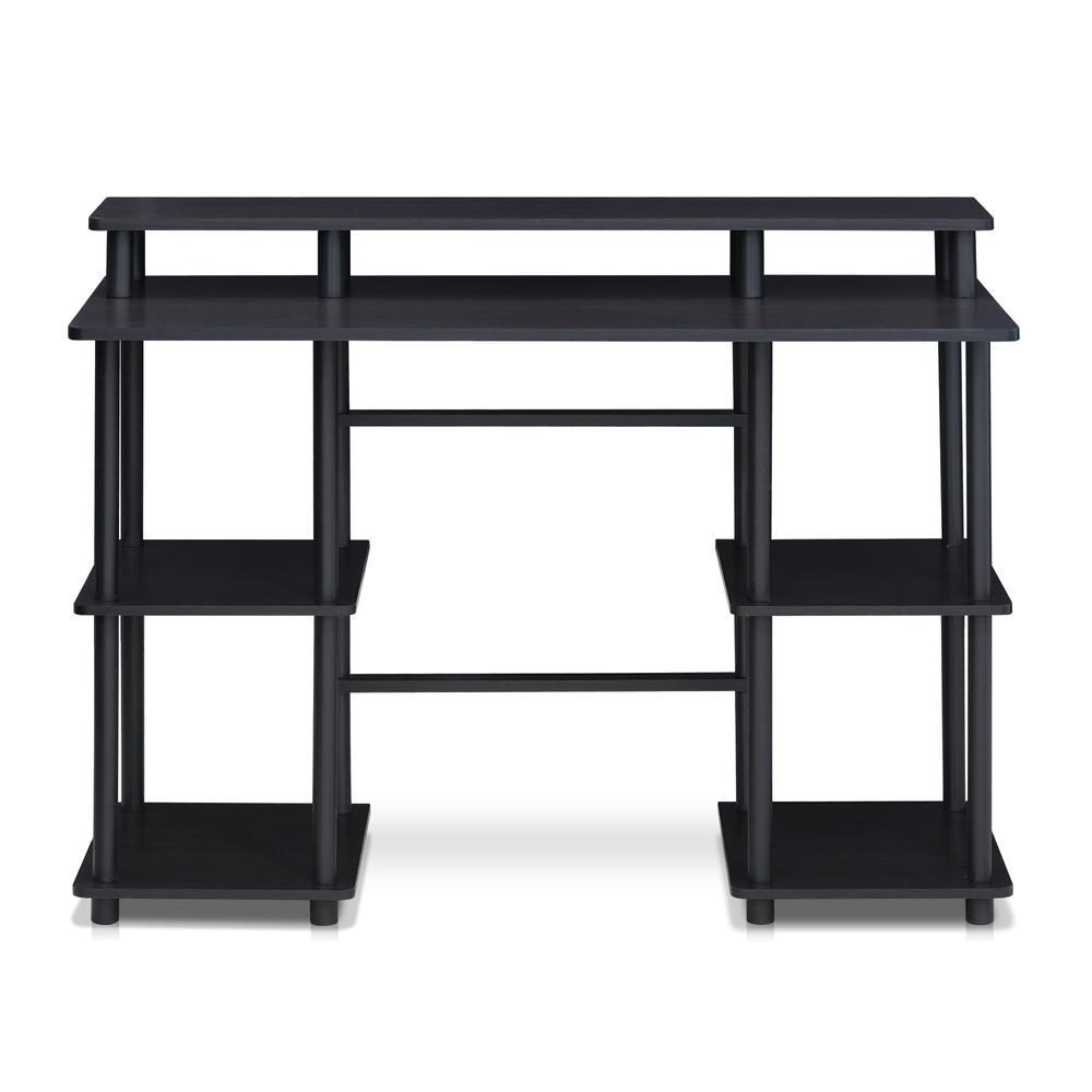 Furinno Turn-N-Tube Computer Desk with Top Shelf, Espresso/Black 17045EX/BK. Picture 3