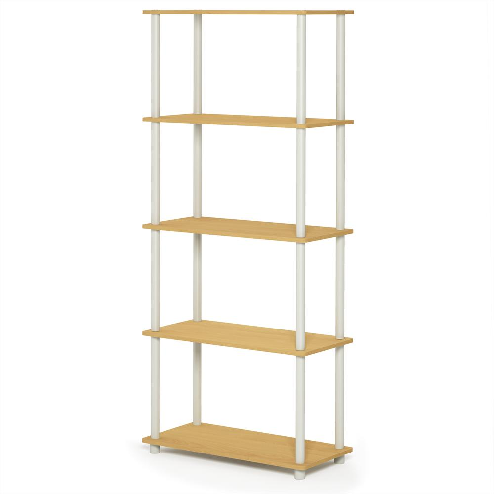 Furinno Turn-N-Tube 5-Tier Multipurpose Shelf Display Rack, Beech/White, 17091BE/WH. Picture 1