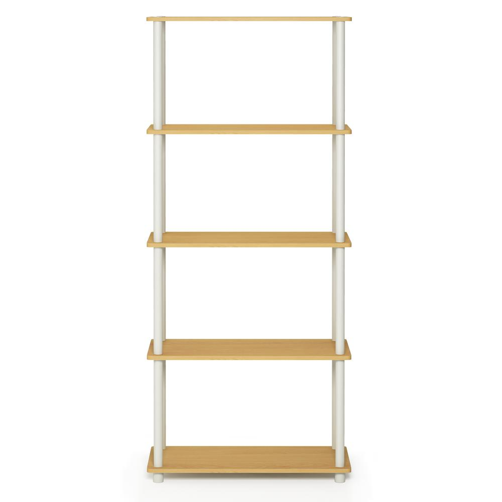 Furinno Turn-N-Tube 5-Tier Multipurpose Shelf Display Rack, Beech/White, 17091BE/WH. Picture 3