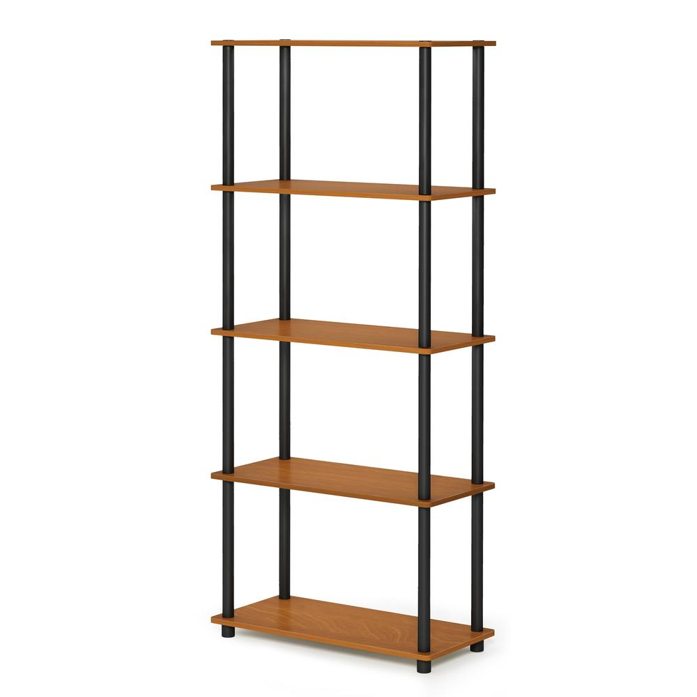 Furinno Turn-N-Tube 5-Tier Multipurpose Shelf Display Rack, Light Cherry/Black, 17091LC/BK. Picture 1