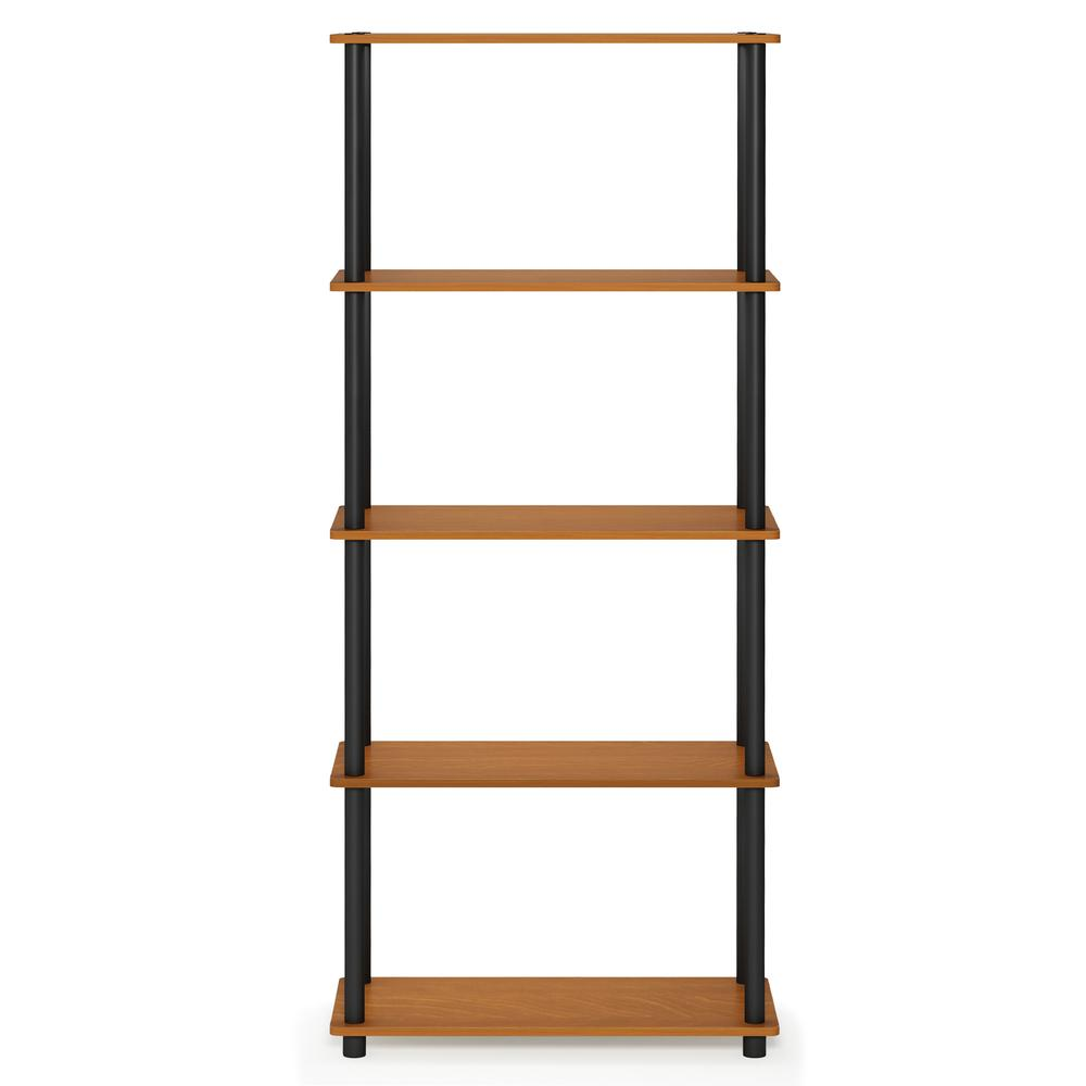 Furinno Turn-N-Tube 5-Tier Multipurpose Shelf Display Rack, Light Cherry/Black, 17091LC/BK. Picture 3