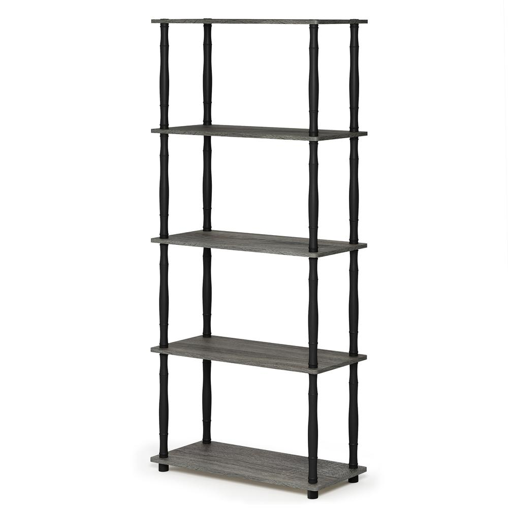 Furinno Turn-N-Tube 5-Tier Multipurpose Shelf Display Rack with Classic Tubes, French Oak Grey/Black, 18032GYW/BK. Picture 1