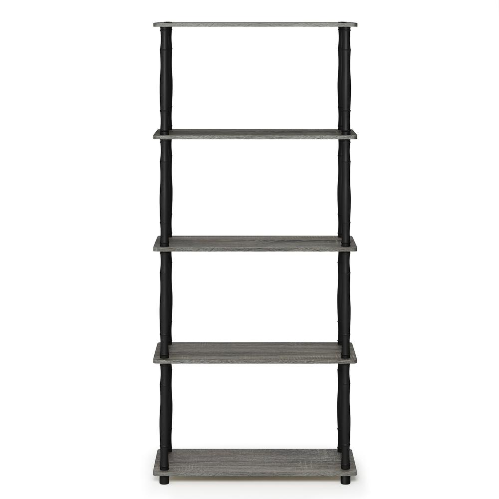 Furinno Turn-N-Tube 5-Tier Multipurpose Shelf Display Rack with Classic Tubes, French Oak Grey/Black, 18032GYW/BK. Picture 3