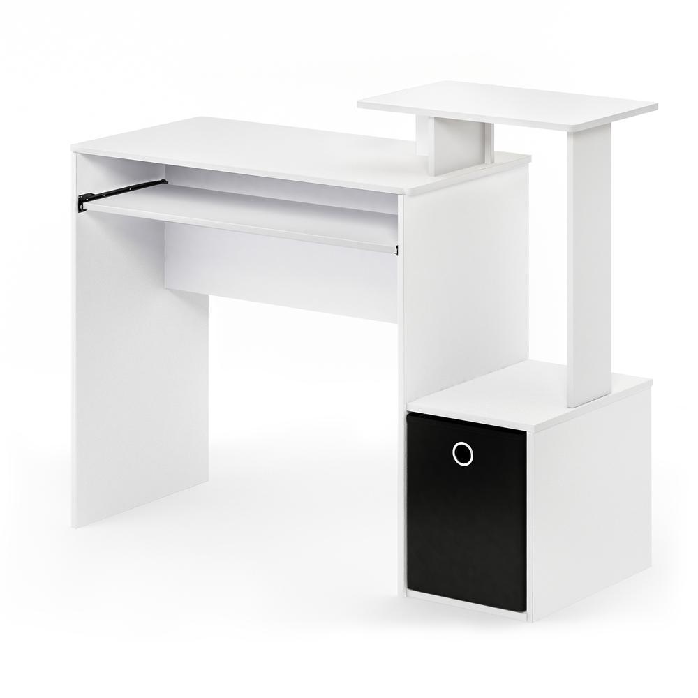 Furinno Econ Multipurpose Home Office Computer Writing Desk w/Bin, White/Black, 12095WH/BK. Picture 1