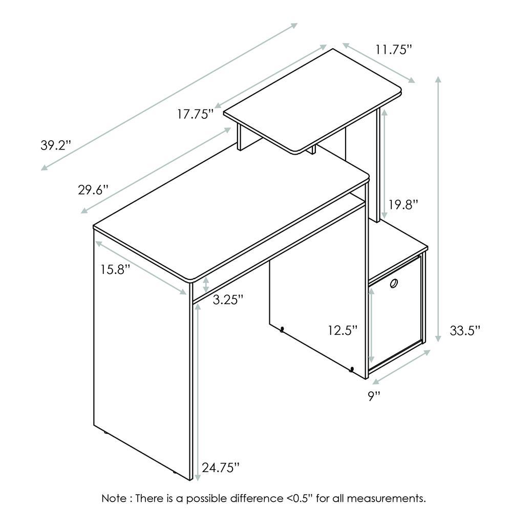 Furinno Econ Multipurpose Home Office Computer Writing Desk w/Bin, White/Black, 12095WH/BK. Picture 2