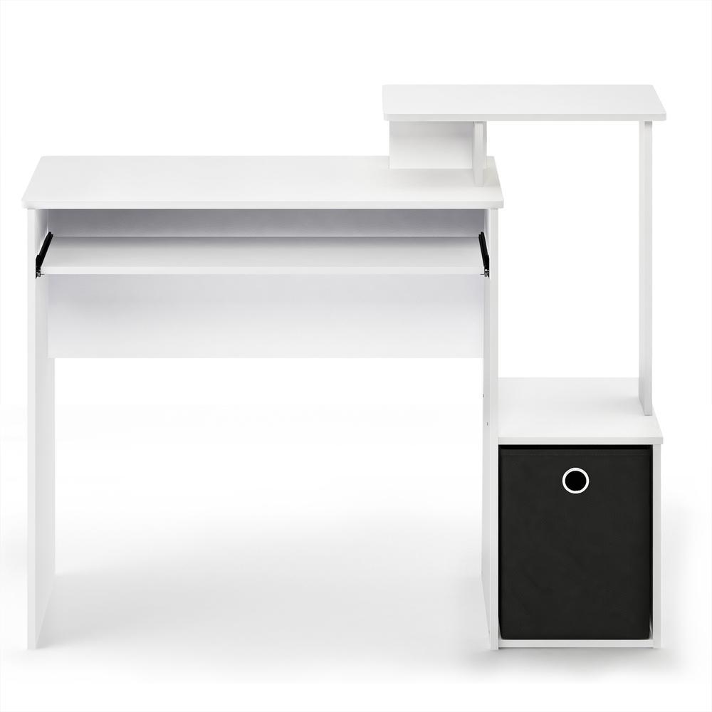 Furinno Econ Multipurpose Home Office Computer Writing Desk w/Bin, White/Black, 12095WH/BK. Picture 3