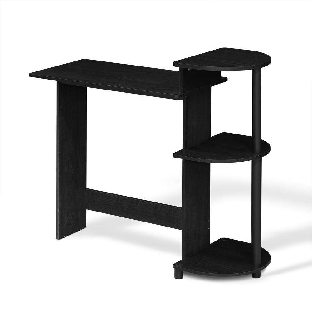 Compact Computer Desk with Shelves, Americano/Black. Picture 1