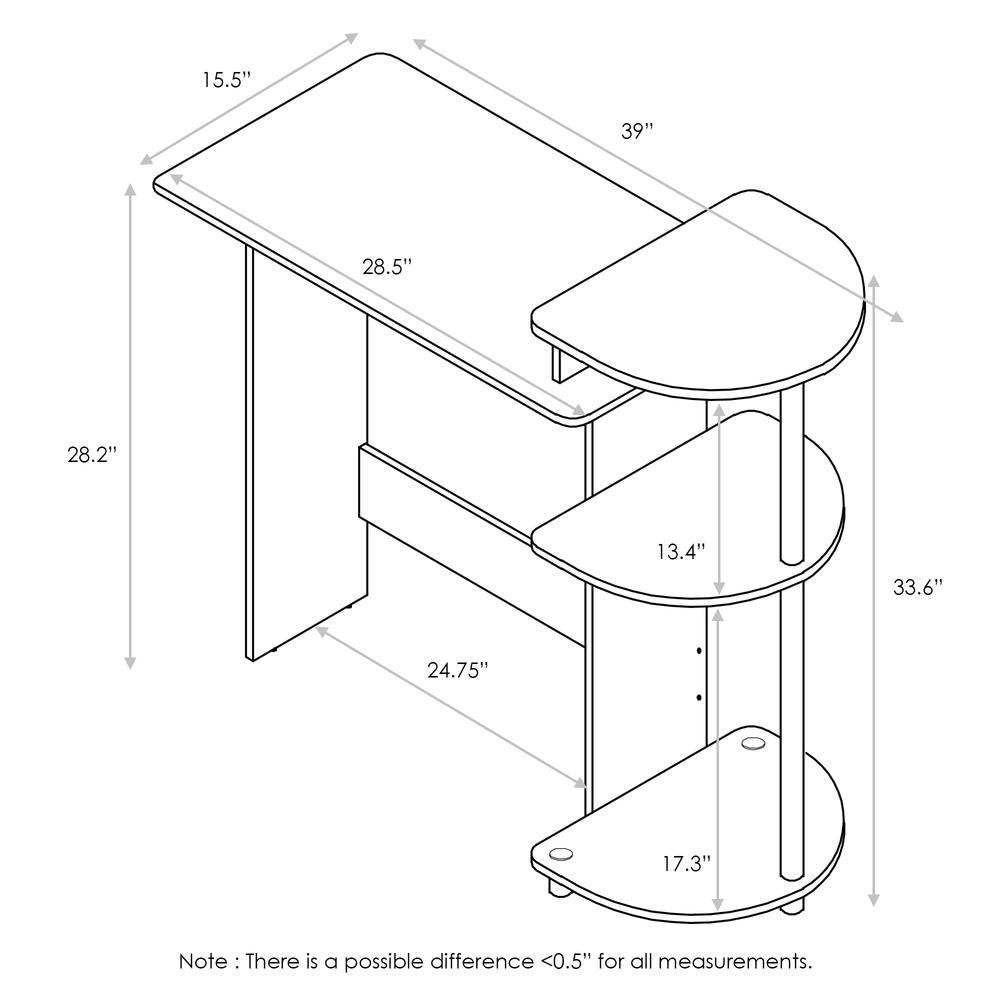 Compact Computer Desk with Shelves, Americano/Black. Picture 2