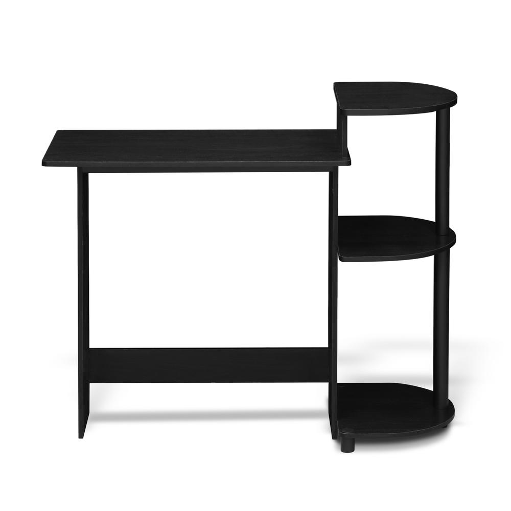 Compact Computer Desk with Shelves, Americano/Black. Picture 3