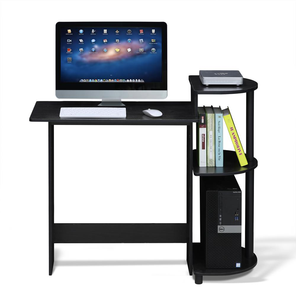 Compact Computer Desk with Shelves, Americano/Black. Picture 4
