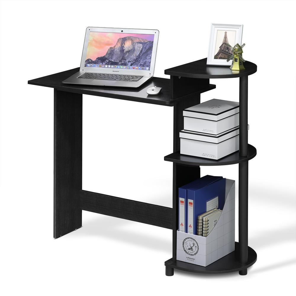 Compact Computer Desk with Shelves, Americano/Black. Picture 5