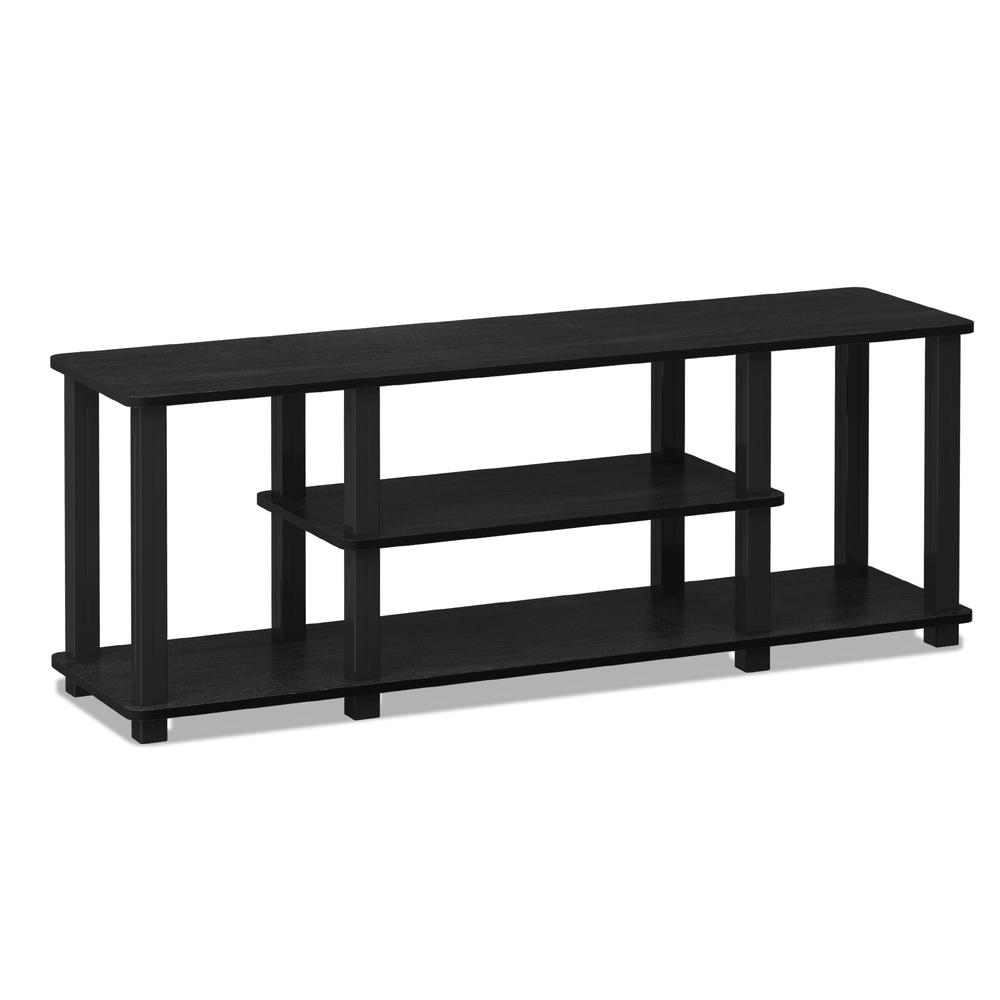 Turn-S-Tube No Tools 3D 3-Tier Entertainment TV Stands with Square Tube, Americano/Black. Picture 1