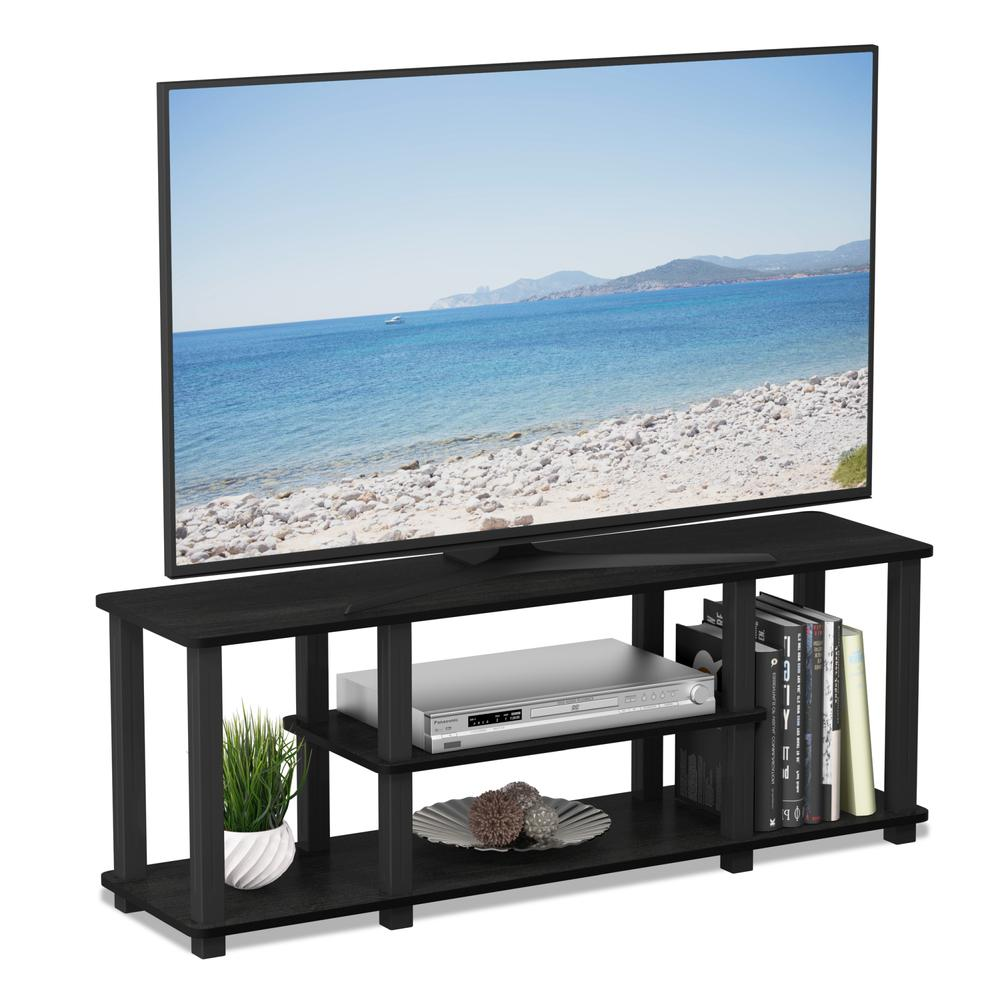 Turn-S-Tube No Tools 3D 3-Tier Entertainment TV Stands with Square Tube, Americano/Black. Picture 4
