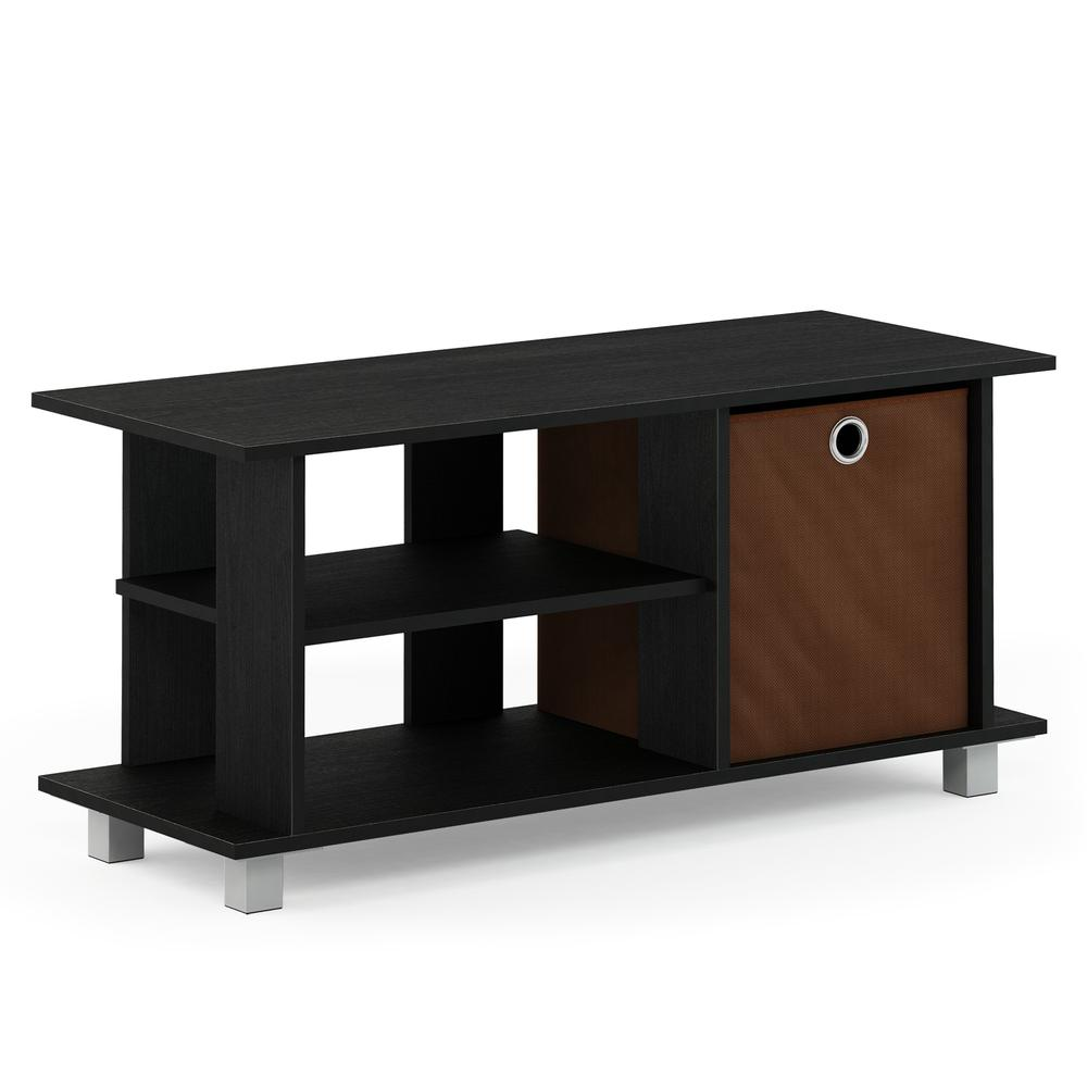 Simplistic TV Entertainment Center with Bin Drawers, Americano/Medium Brown. Picture 1