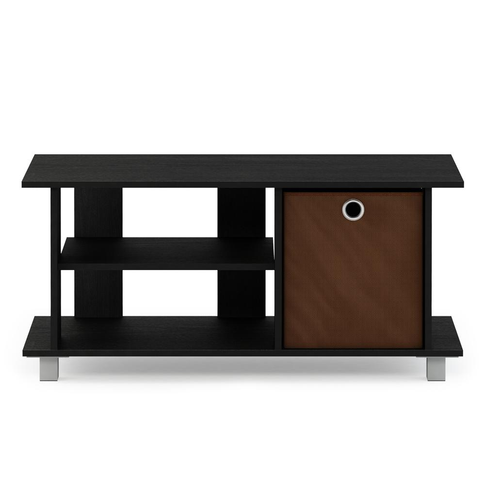 Simplistic TV Entertainment Center with Bin Drawers, Americano/Medium Brown. Picture 3