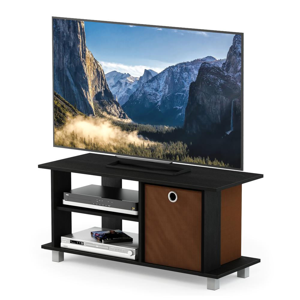 Simplistic TV Entertainment Center with Bin Drawers, Americano/Medium Brown. Picture 4