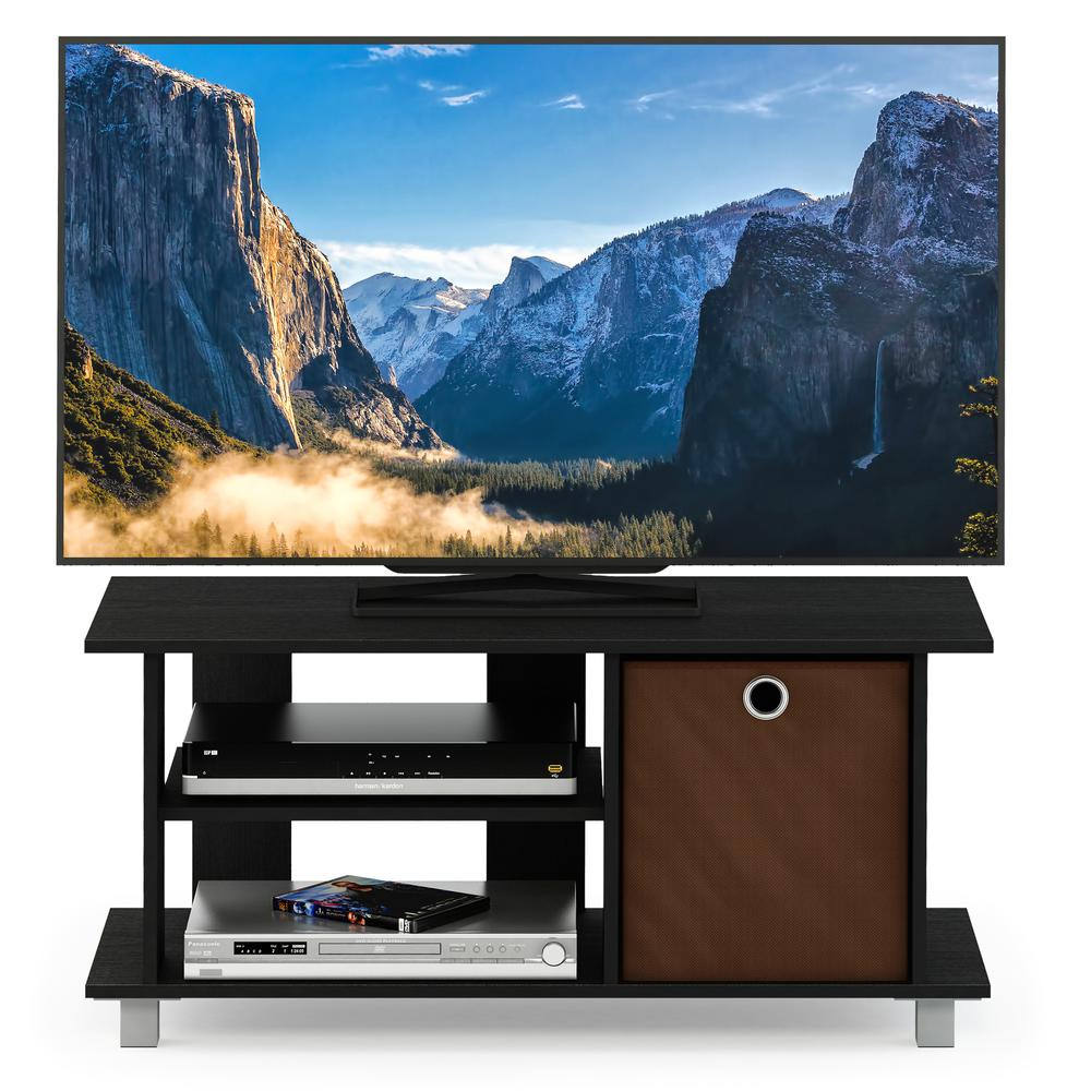 Simplistic TV Entertainment Center with Bin Drawers, Americano/Medium Brown. Picture 5