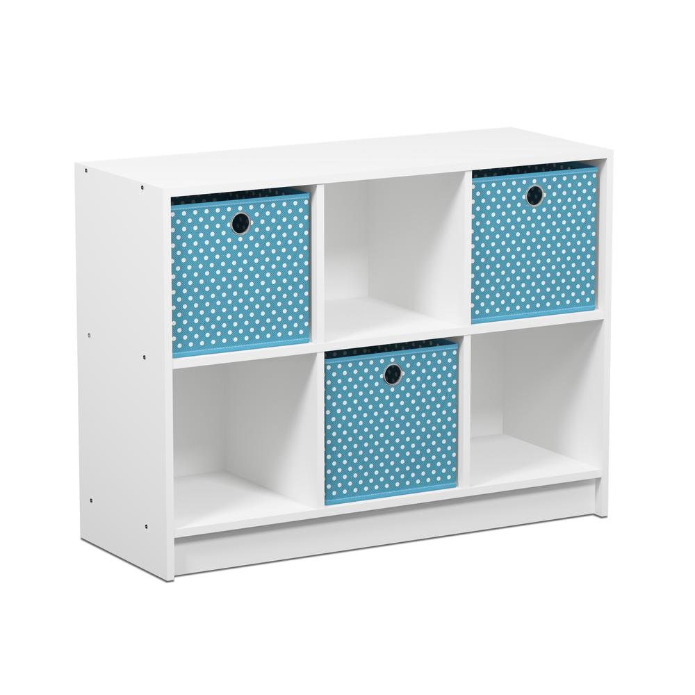 Furinno Basic 3x2 Bookcase Storage w/Bins, White/Light Blue, 99940WH/LBL. The main picture.