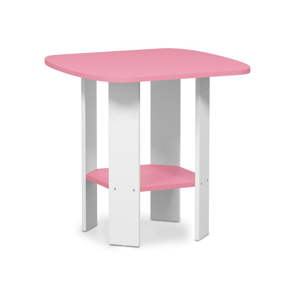 Furinno Simple Design End/SideTable, Pink/White. Picture 1