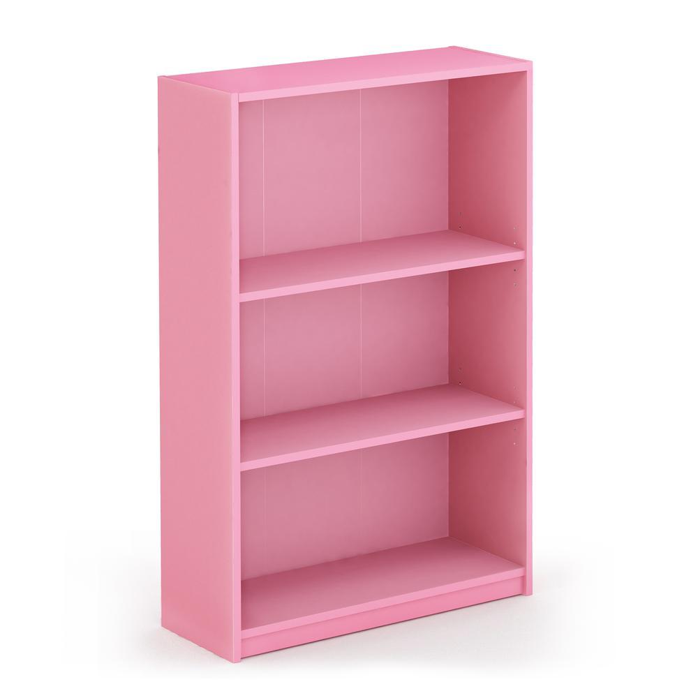 Furinno JAYA Simple Home 3-Tier Adjustable Shelf Bookcase, Pink, 14151R1PI. Picture 1