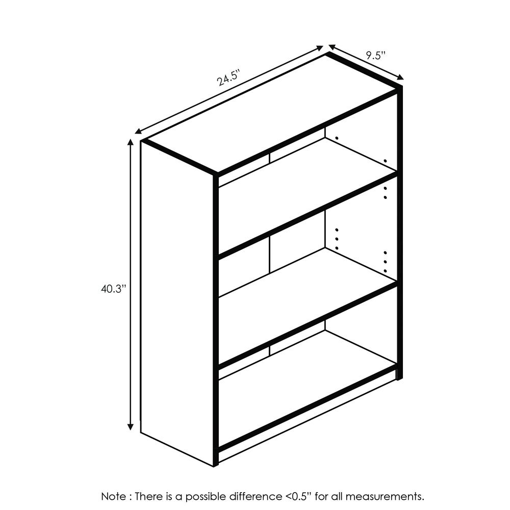 Furinno JAYA Simple Home 3-Tier Adjustable Shelf Bookcase, Pink, 14151R1PI. Picture 2