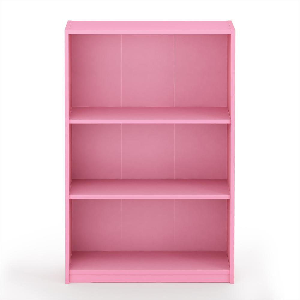 Furinno JAYA Simple Home 3-Tier Adjustable Shelf Bookcase, Pink, 14151R1PI. Picture 3