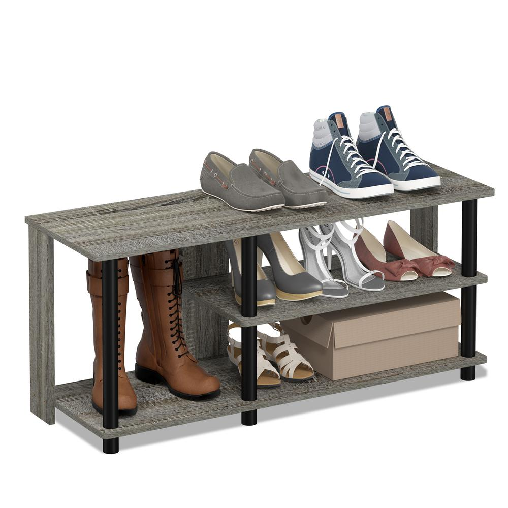Turn-N-Tube Compact Multi Storage Shoe Rack, French Oak Grey/Black. Picture 4