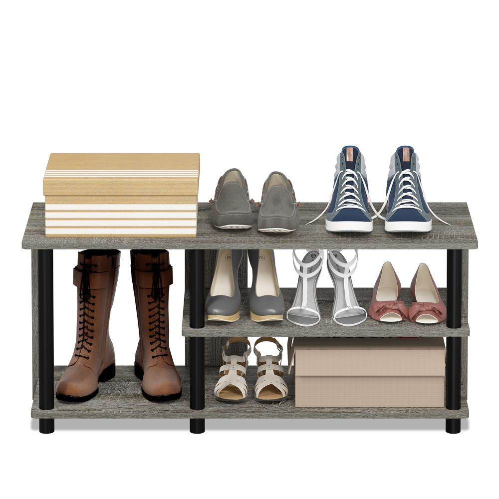 Turn-N-Tube Compact Multi Storage Shoe Rack, French Oak Grey/Black. Picture 5