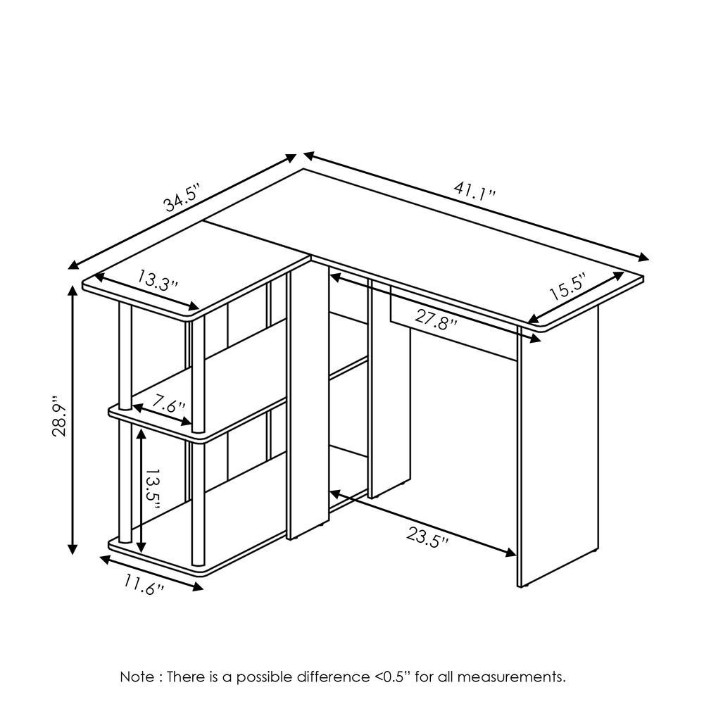 Abbott L-Shape Desk with Bookshelf, Espresso/Black, 17092EX/BK. Picture 2