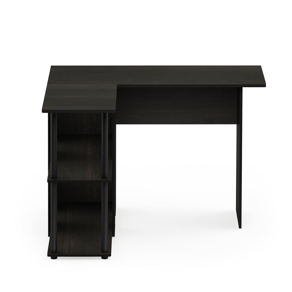 Abbott L-Shape Desk with Bookshelf, Espresso/Black, 17092EX/BK. Picture 3