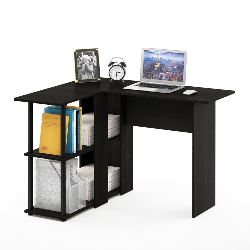 Abbott L-Shape Desk with Bookshelf, Espresso/Black, 17092EX/BK. Picture 5