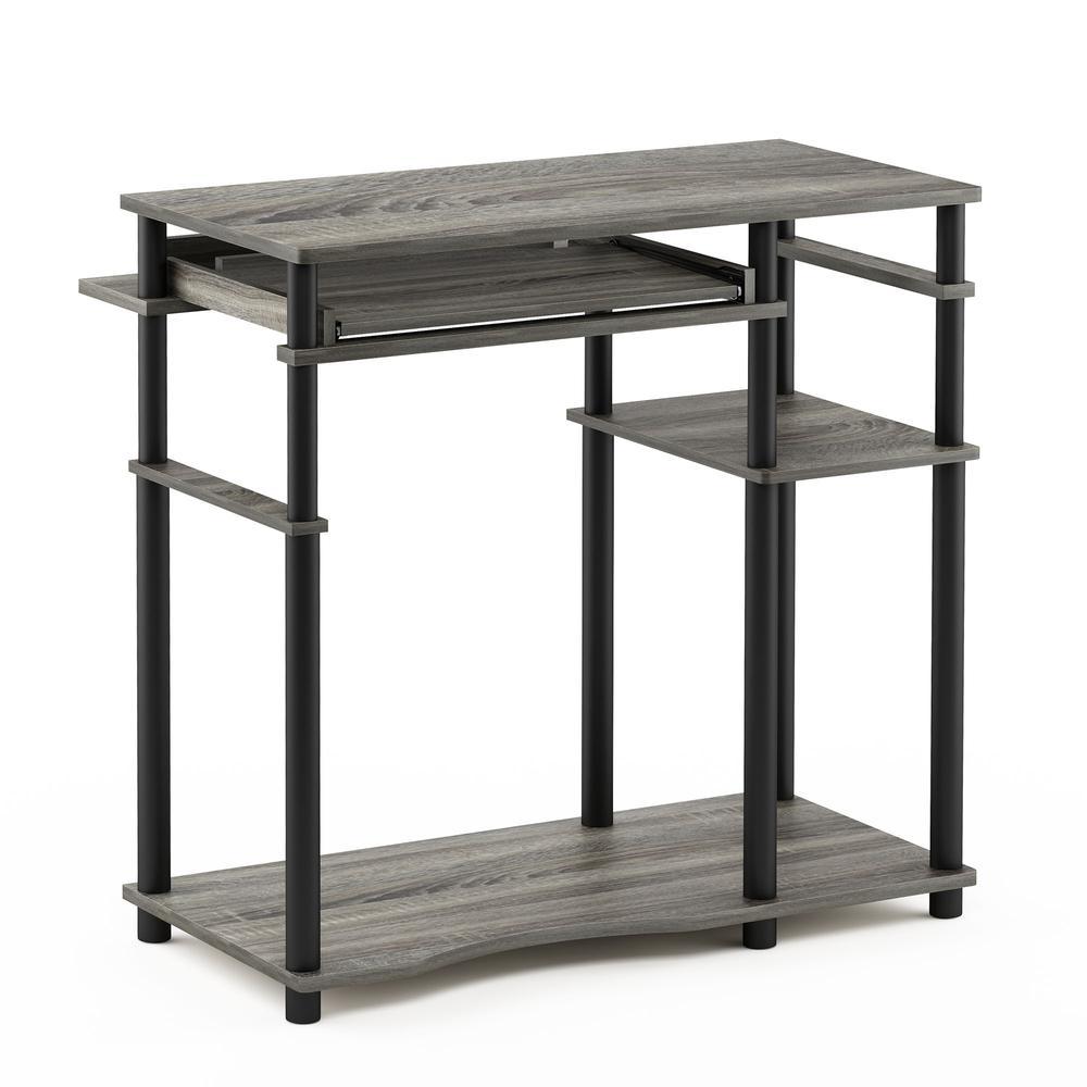 Abbott Computer Desk with Bookshelf, French Oak Grey/Black, 17097GYW/BK. Picture 1