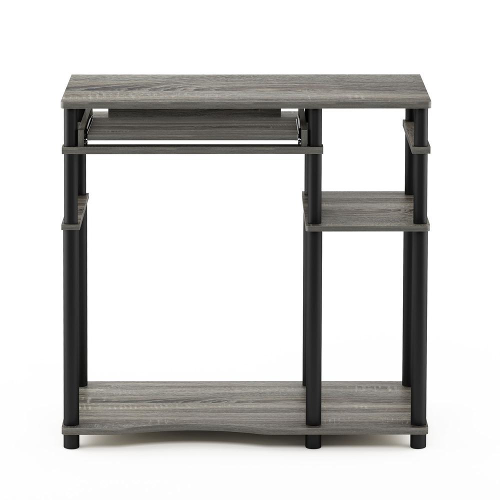 Abbott Computer Desk with Bookshelf, French Oak Grey/Black, 17097GYW/BK. Picture 3