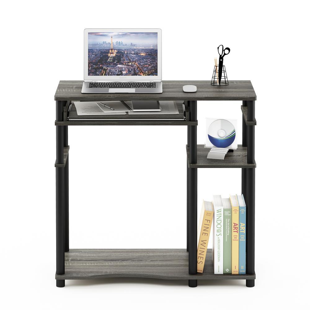 Abbott Computer Desk with Bookshelf, French Oak Grey/Black, 17097GYW/BK. Picture 5