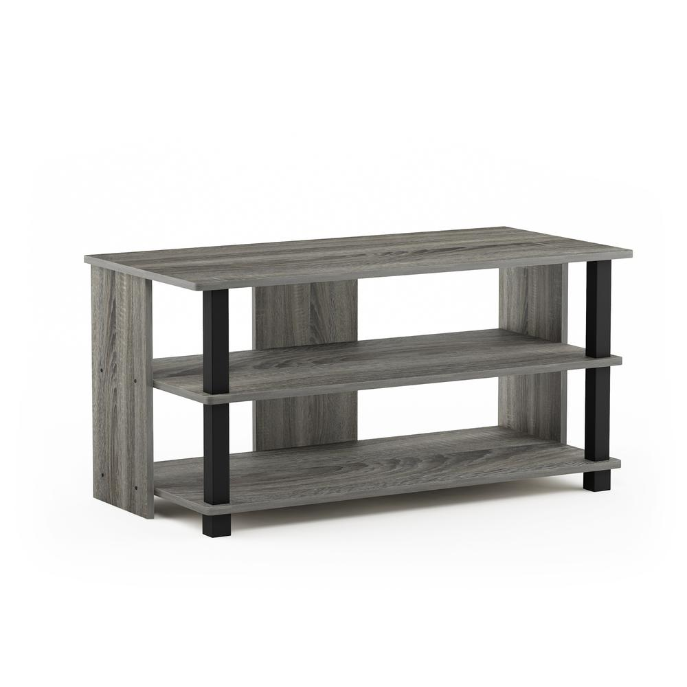 Sully 3-Tier TV Stand for TV up to 40, French Oak Grey/Black, 17076GYW/BK. Picture 1
