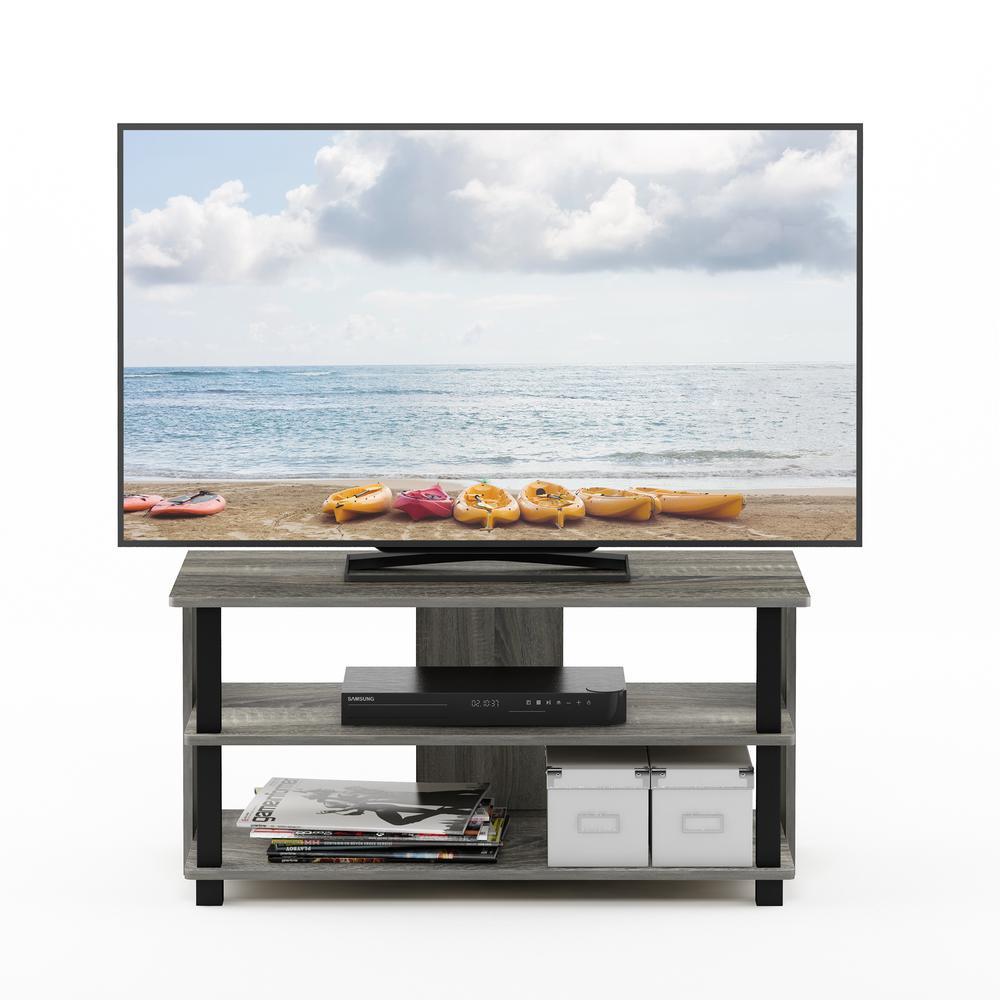 Sully 3-Tier TV Stand for TV up to 40, French Oak Grey/Black, 17076GYW/BK. Picture 4
