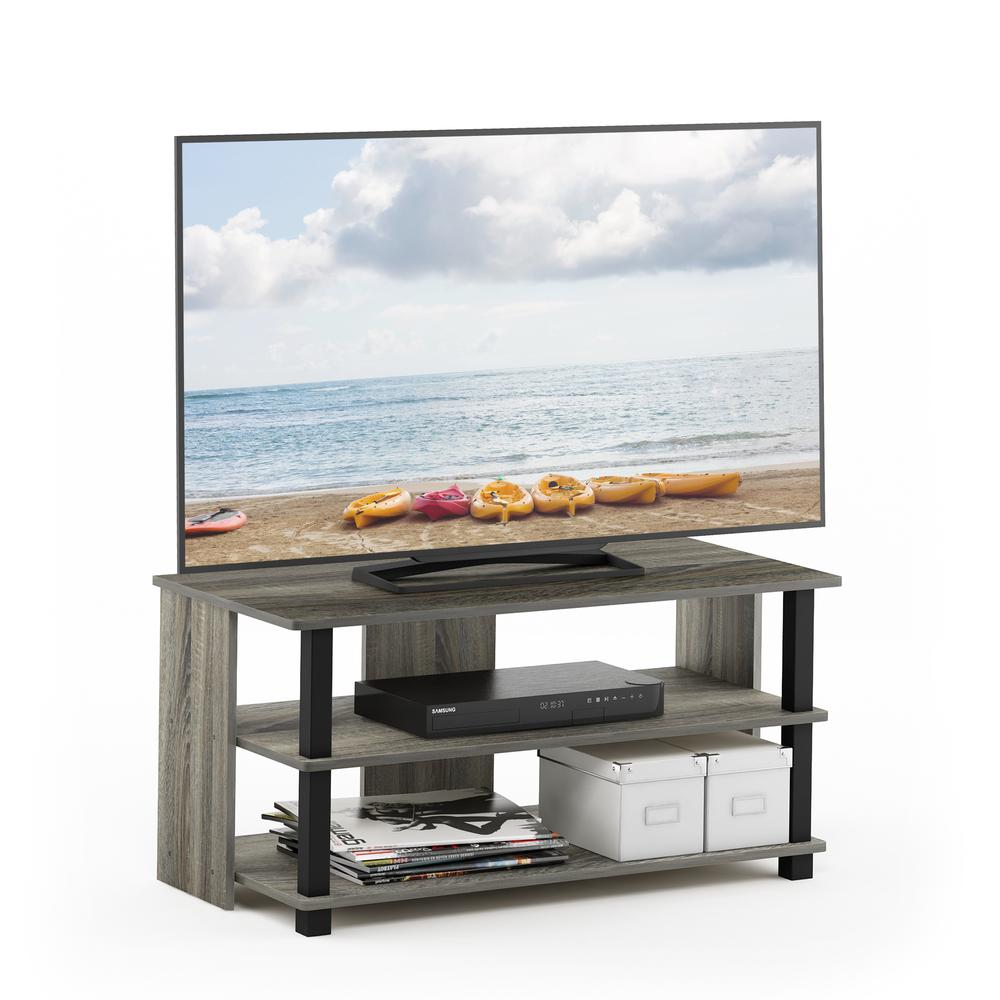Sully 3-Tier TV Stand for TV up to 40, French Oak Grey/Black, 17076GYW/BK. Picture 5