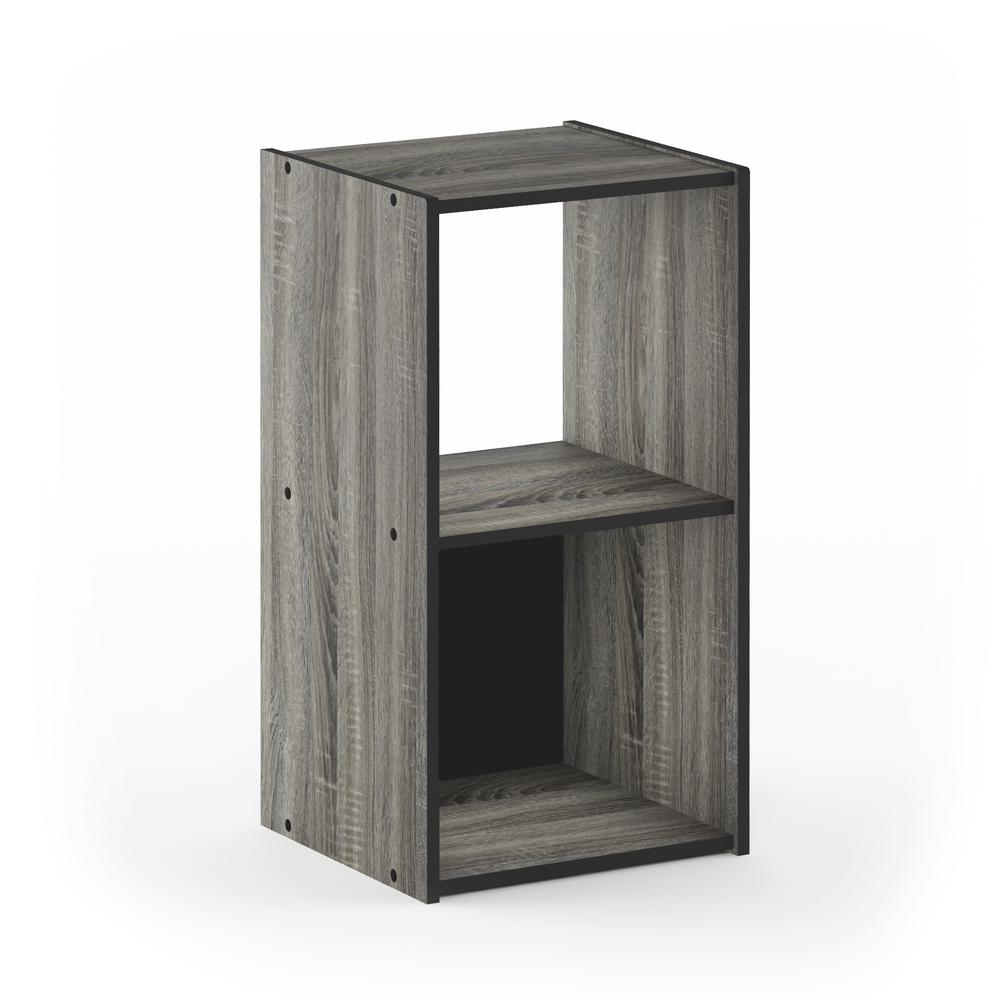 Pelli Cubic Storage Cabinet, 2x1, French Oak Grey/Black, 18049GYW. Picture 1