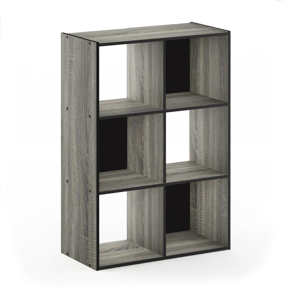Pelli Cubic Storage Cabinet, 3x2, French Oak Grey/Black, 18053GYW