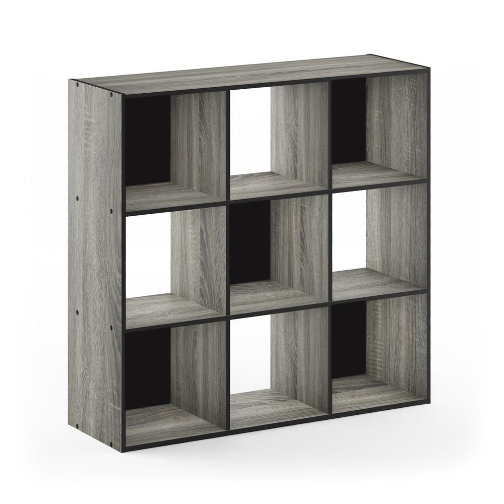 Pelli Cubic Storage Cabinet, 3x3, French Oak Grey/Black, 18055GYW. Picture 1