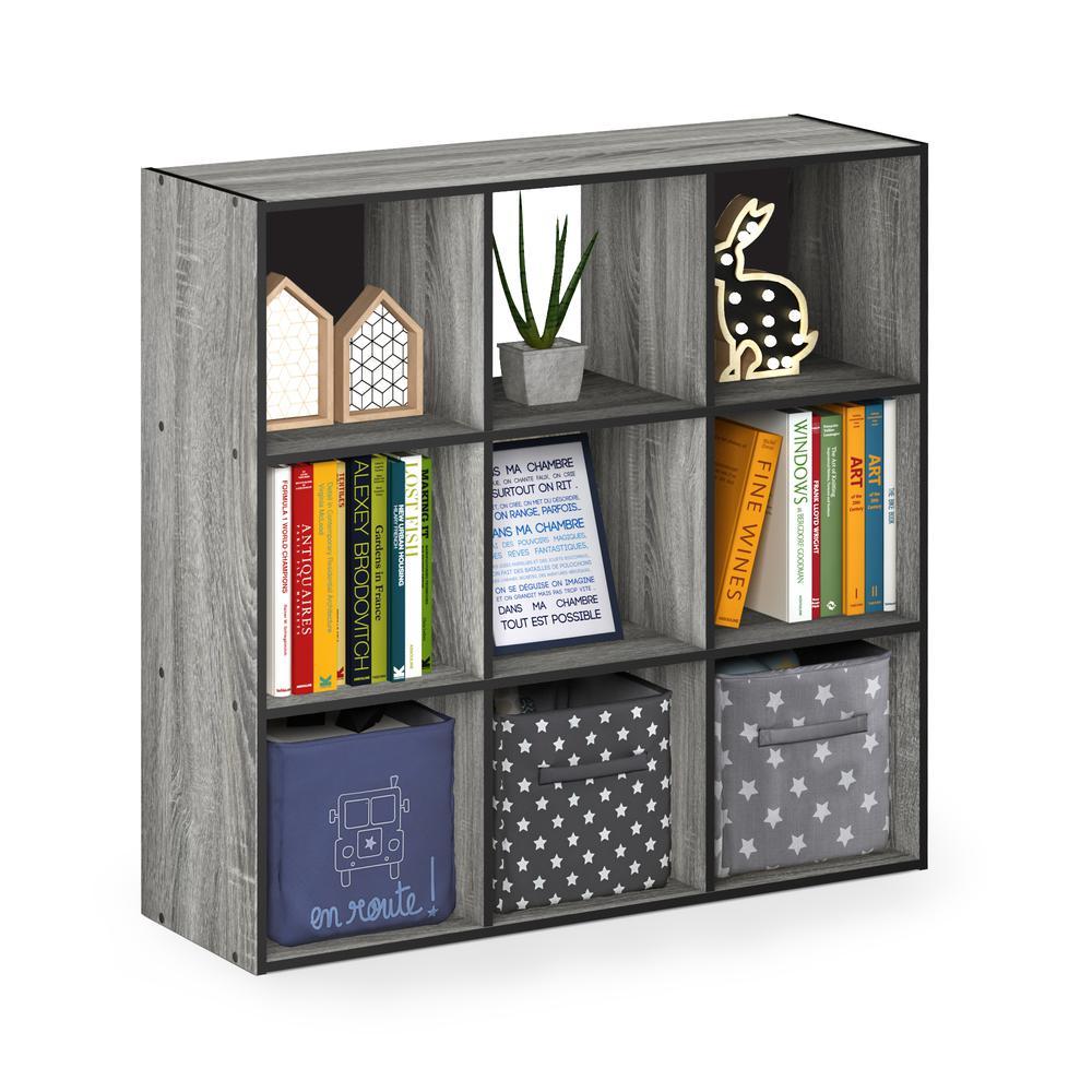 Pelli Cubic Storage Cabinet, 3x3, French Oak Grey/Black, 18055GYW. Picture 4