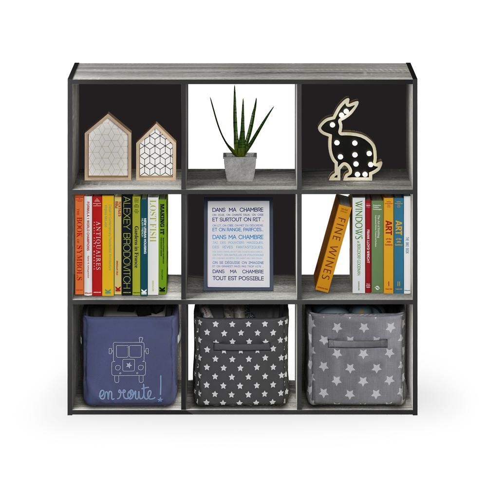 Pelli Cubic Storage Cabinet, 3x3, French Oak Grey/Black, 18055GYW. Picture 5