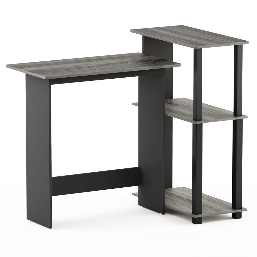 Abbott Corner Computer Desk with Bookshelf, French Oak Grey/Black, 16086R1GYW/BK. Picture 1