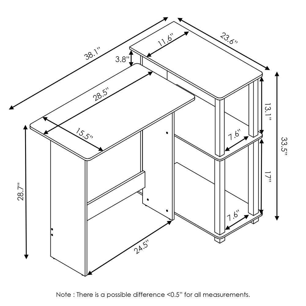 Abbott Corner Computer Desk with Bookshelf, French Oak Grey/Black, 16086R1GYW/BK. Picture 2