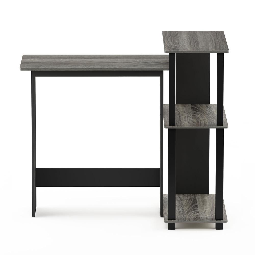 Abbott Corner Computer Desk with Bookshelf, French Oak Grey/Black, 16086R1GYW/BK. Picture 3